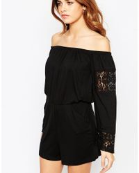 ASOS | Black Off Shoulder Playsuit With Lace Inserts | Lyst