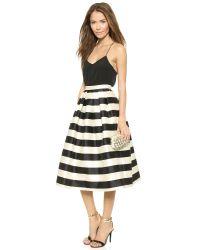 Tibi - Natural Escalante Striped Full Satin Skirt - Lyst