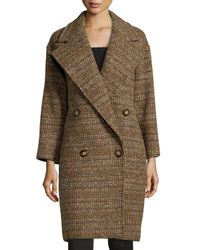 Stella McCartney | Brown Tweed Wool Double-breasted Coat | Lyst