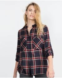 Zara | Blue Check Shirt | Lyst