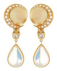 Assael - Metallic 18k South Sea Pearl Moonstone Earrings - Lyst
