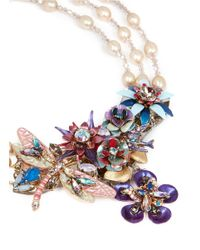 Erickson Beamon | Multicolor 'Iron Butterfly' Pearlescent Appliqué Bead Necklace | Lyst