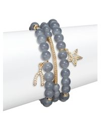 Saks Fifth Avenue | Gray Pavã© Star & Wishbone Charm Beaded Bracelets/set Of 3 | Lyst