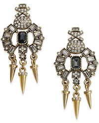 ABS By Allen Schwartz | Metallic Gold-tone Stone And Spike Drop Earrings | Lyst