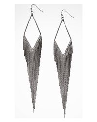 Express - Gray Diamond Shaped Metal Fringe Earrings - Lyst