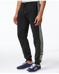 Armani Jeans - Black Pinstriped Logo Jogger Pants for Men - Lyst