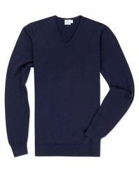 Sunspel | Blue Men's Fine Merino V-neck Jumper for Men | Lyst