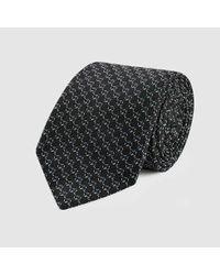 Gucci - Black Gg Pattern Silk Tie for Men - Lyst