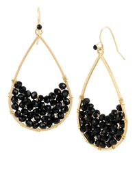 Kenneth Cole | Black Crystalline Teardrop Earrings | Lyst