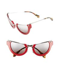 Miu Miu | Red 'noir' 52mm Semi-rimless Cat-eye Sunglasses | Lyst