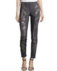 Nicole Miller - Metallic Armour Beading Denim Pants - Lyst