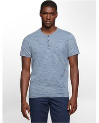 Calvin Klein | Blue Jeans Slim Fit Cotton Slub Henley Short Sleeve Shirt for Men | Lyst