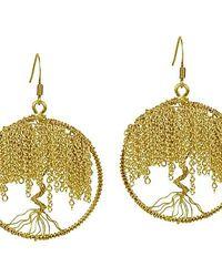 Aeravida | Metallic Brass Chain Links Flourishing Tree Of Life Dangle Earrings | Lyst