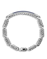 David Yurman - Metallic Chevron Id Bracelet with Sapphires for Men - Lyst
