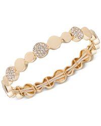 Anne Klein - Metallic Silver-tone Crystal Stretch Bracelet - Lyst