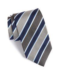 David Donahue | Gray Stripe Silk Tie for Men | Lyst