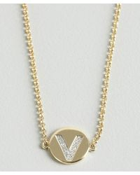 KC Designs | Metallic Gold And Diamond 'v' Initial Pendant Bracelet | Lyst