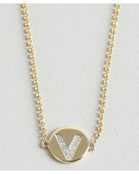 KC Designs - Metallic Gold And Diamond 'v' Initial Pendant Bracelet - Lyst