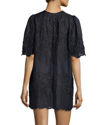 Isabel Marant - Black Embroidered Short-sleeve Voile Dress - Lyst