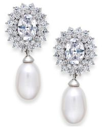 Arabella | Metallic Cultured Freshwater Pearl (8mm) And Swarovski Zirconia Earrings In Sterling Silver | Lyst