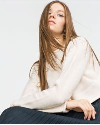 Zara | White Round Neck Sweater | Lyst