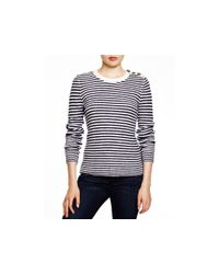 Aqua | Blue Cashmere Ottoman Stripe Button Shoulder Sweater | Lyst
