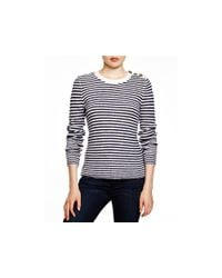 Aqua - Blue Cashmere Ottoman Stripe Button Shoulder Sweater - Lyst