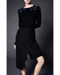 Zac Posen - Black Cotton Cashmere Embroidered Sweater - Lyst