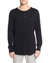 Steven Alan - Black Thermal Henley for Men - Lyst