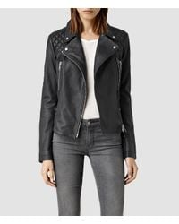 AllSaints - Blue Bleeker Leather Biker Jacket Usa Usa - Lyst