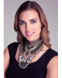 Bebe - Metallic Mesh  Crystal Bib Necklace - Lyst