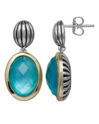 Lord & Taylor | Blue Sterling Silver 14kt. Yellow Gold And Quartz Doublet Earrings | Lyst