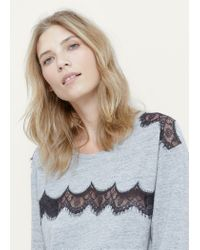 Violeta by Mango - Gray Lace Panel T-shirt - Lyst