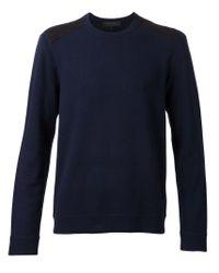 Rag & Bone - Blue 'Zeeland' Shoulder Patch Sweater for Men - Lyst