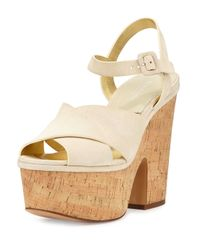 85287212a21 Lyst - Michael Kors Hilary Suede Platform Sandals in Natural