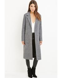Forever 21 | Gray Collared Longline Overcoat | Lyst