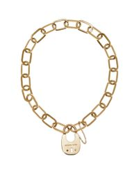Michael Kors | Metallic Padlock Statement Necklace | Lyst