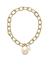 Michael Kors - Metallic Padlock Statement Necklace - Lyst