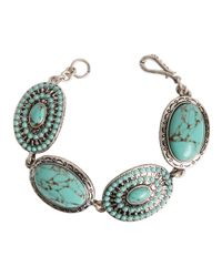 Lucky Brand | Blue Silvertone Metal And Turquoise Bracelet | Lyst