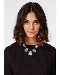 Missguided | Amiee Gem Statement Necklace Green | Lyst