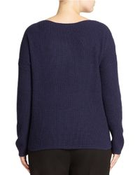 Lord & Taylor | Blue Plus Wool Blend Waffle Knit Sweater | Lyst