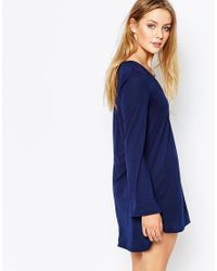 Glamorous | Blue Tunic Dress With Cut Out Collar And Flare Sleeve | Lyst