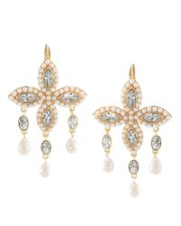 Carolee | Metallic Goldtone Crystal and Bead Navette Cluster Drop Earrings | Lyst