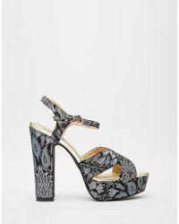 Oasis | Black 70's Jacquard Platform Sandal | Lyst