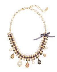 Cara | Metallic Gold-Tone & Velvet Necklace | Lyst