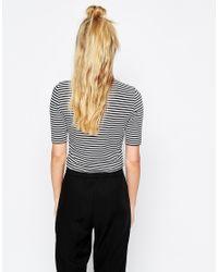 Monki - Multicolor Stripe Step Neck Top - Lyst