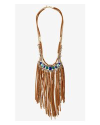 Express | Brown Turquoise Stone And Fringe Statement Necklace | Lyst