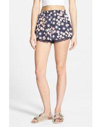 Lush - Multicolor Lace Trim Floral Print Shorts - Lyst