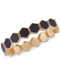 French Connection - Black Gold-tone Hexagon Tile Stretch Bracelet - Lyst