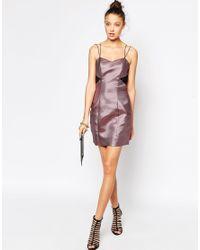 ASOS | Purple Tall Lace Back Metallic Bodycon Dress | Lyst